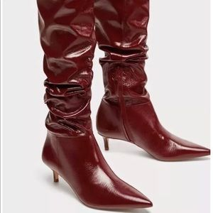 New Zara Red Leather over the knee boots size 9
